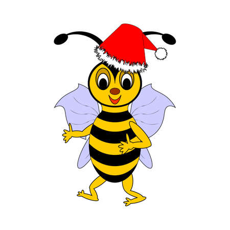A funny Christmas cartoon bee. Vector-art illustration on a white background Vector
