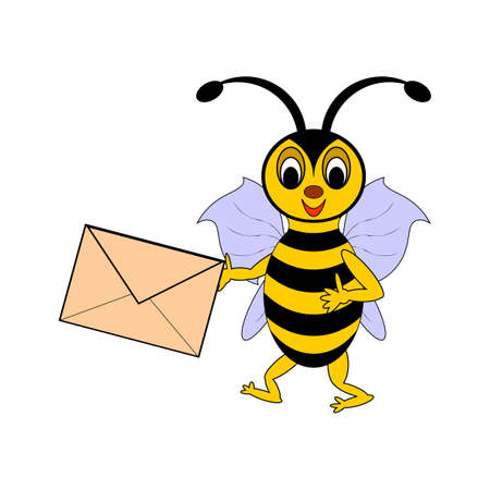 A funny cartoon bee with a letter in its hand. Vector-art illustration on a white background Vector