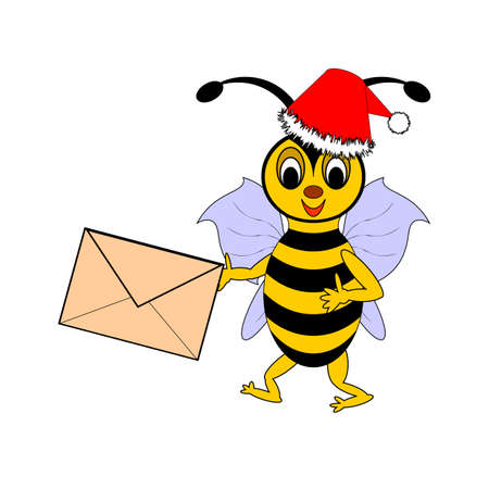 A funny Christmas cartoon bee with a letter in its hand. Vector-art illustration on a white background Vector