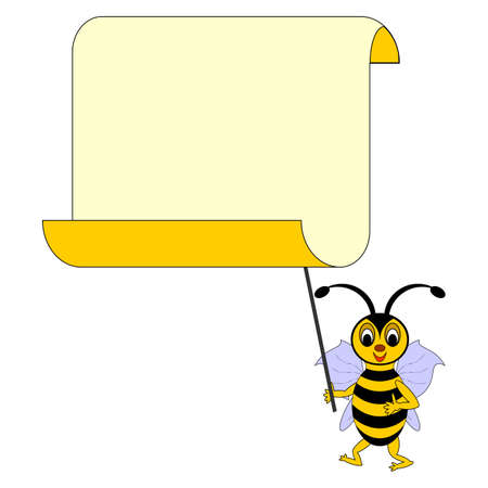 A funny cartoon bee with a big blank paper. Vector-art illustration on a white background Vector