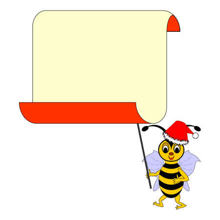 A funny Christmas cartoon bee with a big blank paper for congratulations. Vector-art illustration on a white background Vector