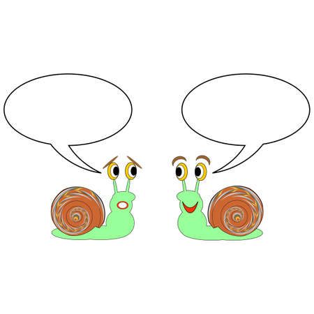 Two funny cartoon snails with talk bubbles. Vector-art illustration on a white background Vector