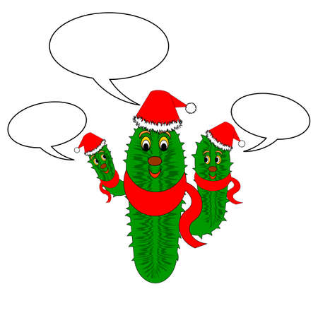 A funny Christmas cactus with speech bubbles. Vector-art illustration on a white background Vector