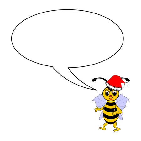 A funny Christmas cartoon bee with a talking bubble. Vector-art illustration on a white background Vector