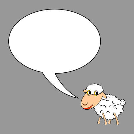 A funny cartoon sheep with a talking bubble.   Vector