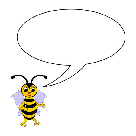 A funny cartoon bee with a talking bubble.