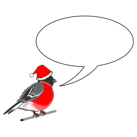 A funny Christmas bullfinch with a speech bull.   Vector