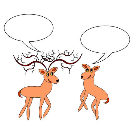 A couple of funny cartoon deer with chatting bubbles.  Vector