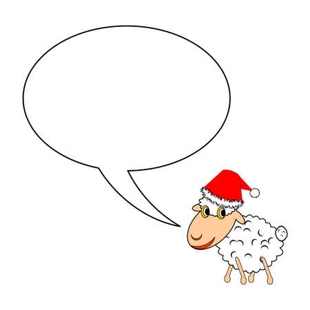 A funny Christmas cartoon sheep with a speech bubble.   Vector