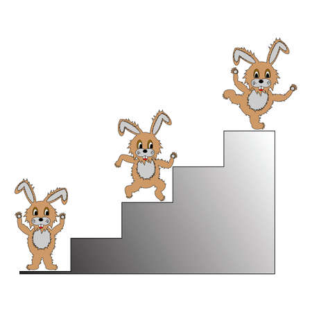 top animated: A funny cartoon rabbit climbing up on a ladder. A symbol of success, progress and achievement.   Illustration