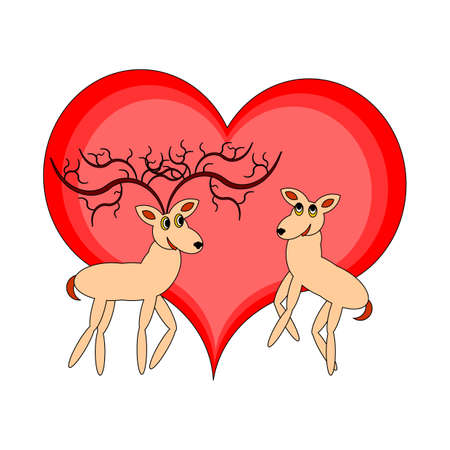 deer in heart: A couple of funny cartoon deer with a red heart.
