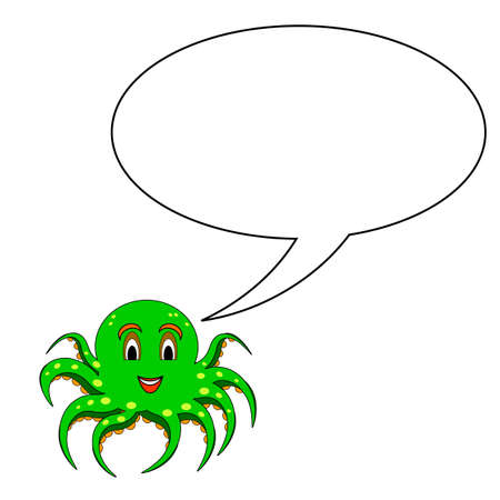 A funny cartoon octopus with a speech bubble.   Vector