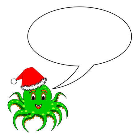 A funny Christmas cartoon octopus with a talking bubble.