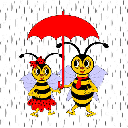 A couple of funny cartoon bees under red umbrella in the rain.   Vector