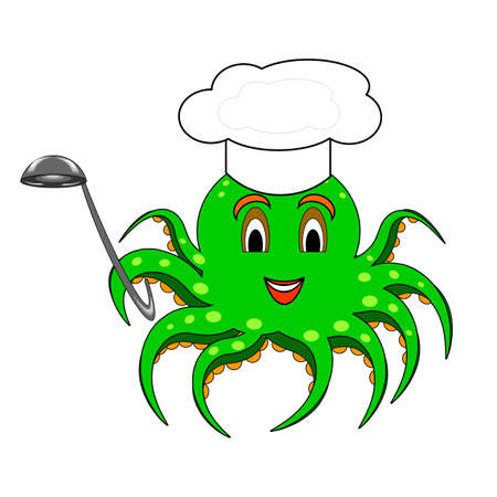 A funny cartoon octopus with a chef hat and a soup ladle.
