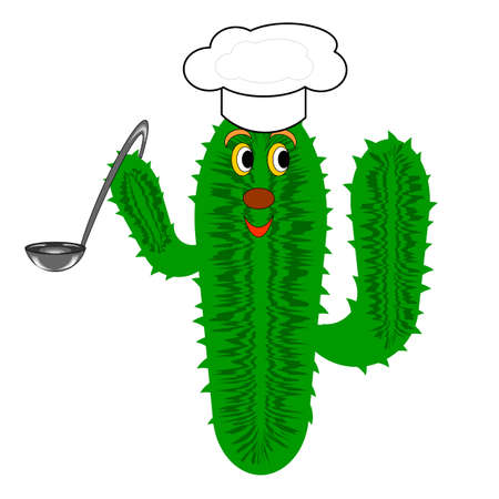 A funny cactus with a chef hat and a soup ladle. Vector-art illustration on a white background