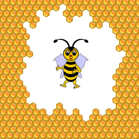 A funny cartoon bee surrounded by honeycombs. Vector-art illustration Vector