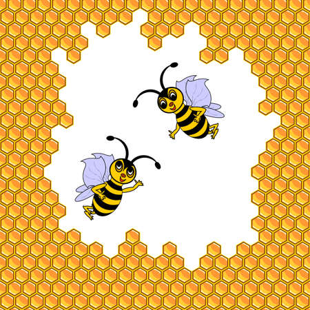 Two funny cartoon bees surrounded by honeycombs. Vector-art illustration Vector