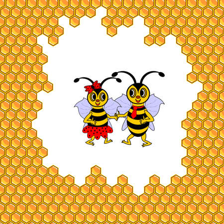 A couple of two funny cartoon bees surrounded by honeycombs. Vector-art illustration