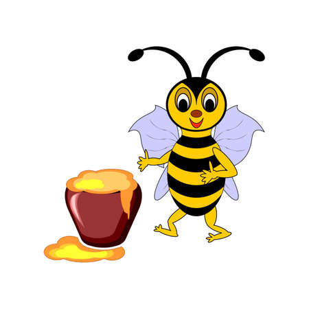 A funny cartoon bee with a pot of honey. Vector-art illustration on a white background Vectores