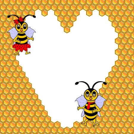 A couple of two funny cartoon bees with a heart surrounded by honeycombs. Valentines day postcard. Vector-art illustration Vector