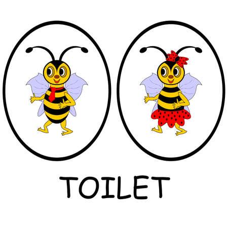 남자와 여자 화장실 표지판. 재미있는 만화 꿀벌. 흰색 배경에 벡터 아트 그림 일러스트