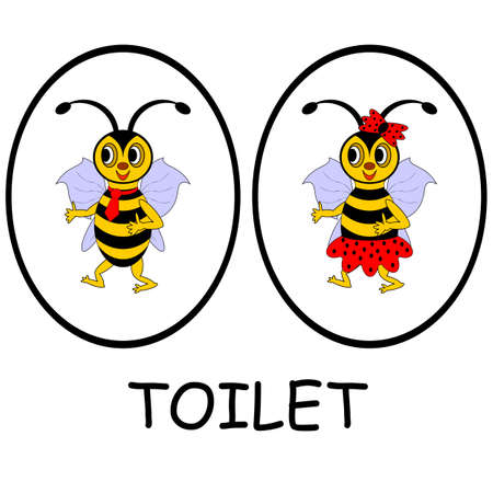 Man and woman restroom signs. Funny cartoon bees. Vector-art illustration on a white background