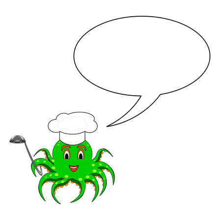A funny cartoon octopus in a chef hat with a speech bubble. Vector-art illustration on a white background Vector