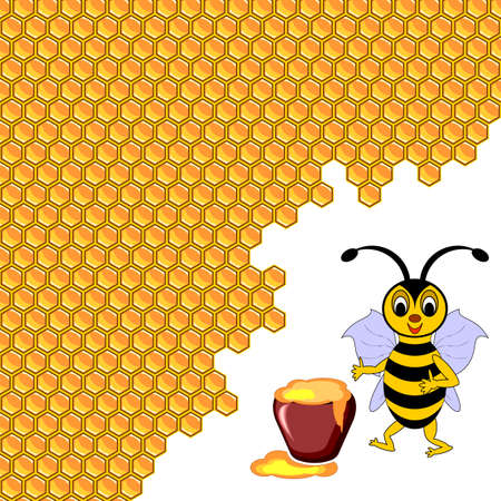 A cute cartoon bee with a honey pot surrounded by honeycombs. Vector-art illustration Vector