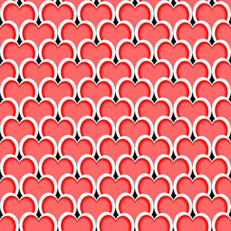 Design seamless red heart diagonal background. Vector art Vector
