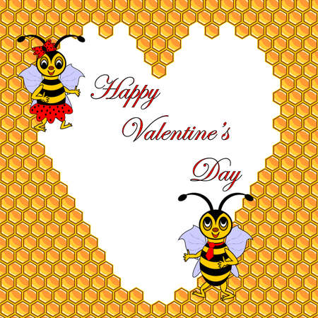 Two funny cartoon bees with a heart surrounded by honeycombs. Valentines day postcard. Vector-art illustration Vector