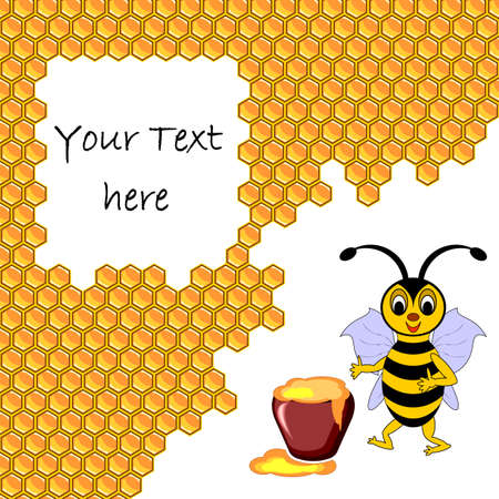 A cute cartoon bee with a honey pot surrounded by honeycombs. Background for your text. Vector-art illustration