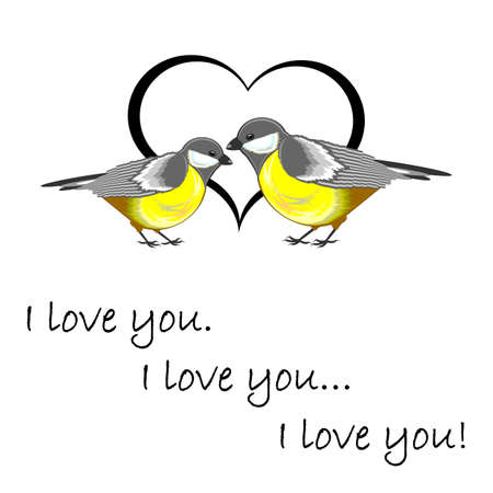chickadee: A couple of cute titmice with a heart and words I love you. Valentines Day postcard. Vector-art illustration on a white background Illustration