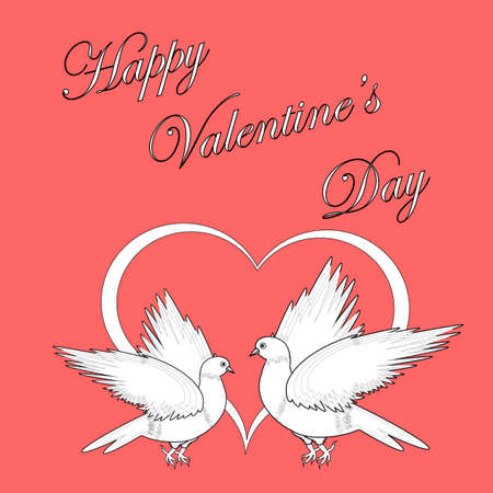 Two doves with a heart  Design Valentine
