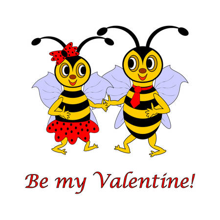 Two funny cartoon bees with words Be my Valentine Valentine