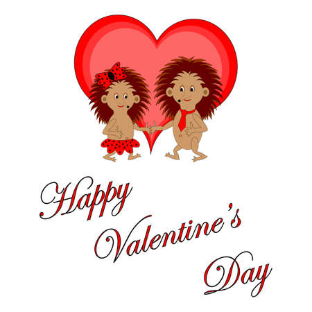 Funny boy and girl with words Happy Valentine Vetores