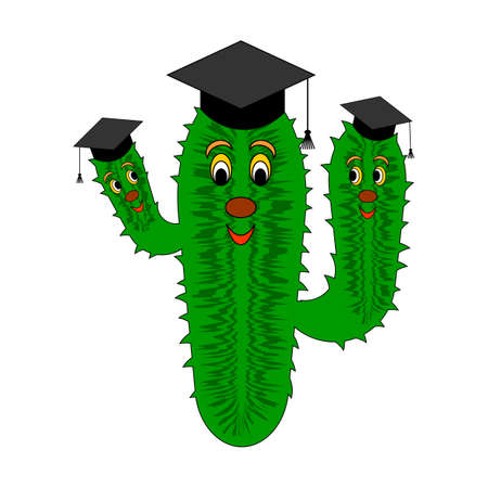 A funny cartoon cactus in a magister cap  Vector-art illustration on a white background Stock Vector - 24663970