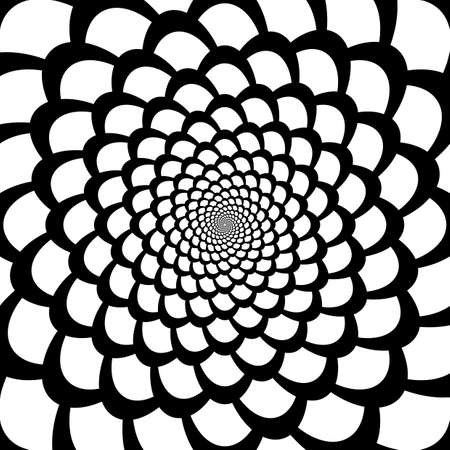 Monochrome abstract perspective funnel movement backdrop in op art design. Vector-art illustration