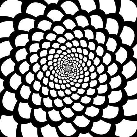 snakeskin: Monochrome abstract perspective funnel movement backdrop in op art design. Vector-art illustration