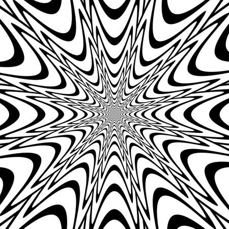 Monochrome abstract perspective funnel explosion background in op art design. Vector-art illustration