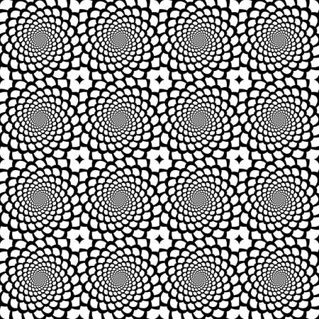 Design seamless monochrome spiral movement snakeskin pattern  Abstract background in op art style  Vector art