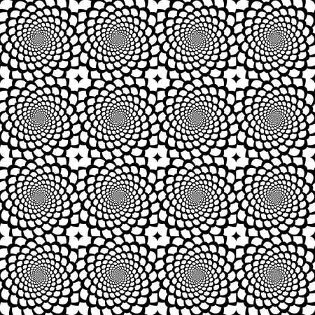 Ontwerp naadloze zwart-wit spiraalvormige beweging slangenhuid patroon Abstracte achtergrond in op-art stijl Vector kunst Stock Illustratie