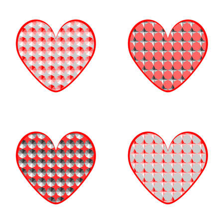 Set of design heart icons for Valentine Vector