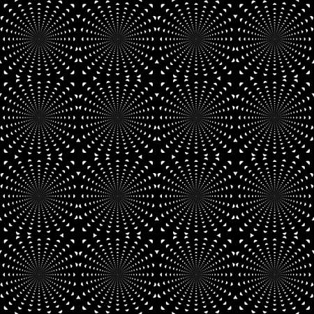 Design seamless monochrome dark rotation background  Whirlpool pattern  Vector art Vector
