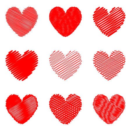 Set of design doodle drawn heart icons for Valentines Day and wedding. Vector-art illustration on a white  Vector