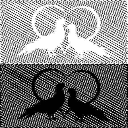 Monochrome silhouette of two doves and a heart. Valentines day and wedding card on a doodle . Vector-art illustration