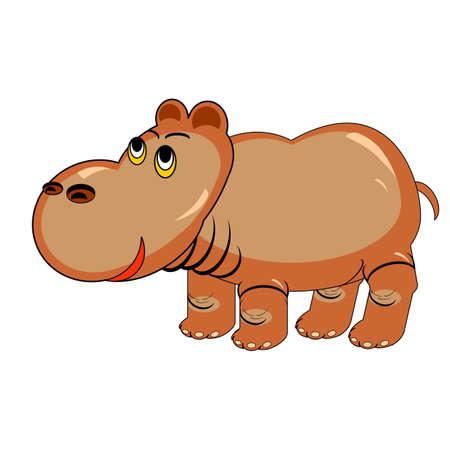 behemoth: A funny cartoon hippopotamus. Design colorful illustration isolated on a white  Illustration