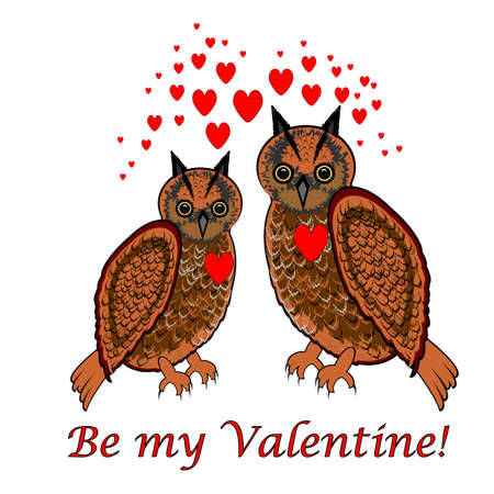 date night: A couple of owls with red hearts and words Be my valentine. Design Valentines Day card.