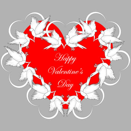 smaller: A red heart decorated with flying white doves and smaller hearts. Valentines Day background.