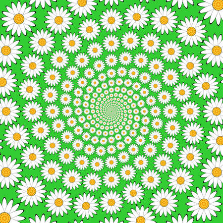 margerite: Design chamomile helix movement background. Colorful floral decorative whirl backdrop. Vector-art illustration